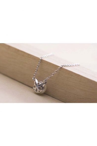 Fashionable Cute  Pearl Cat Ears Pendant Necklace