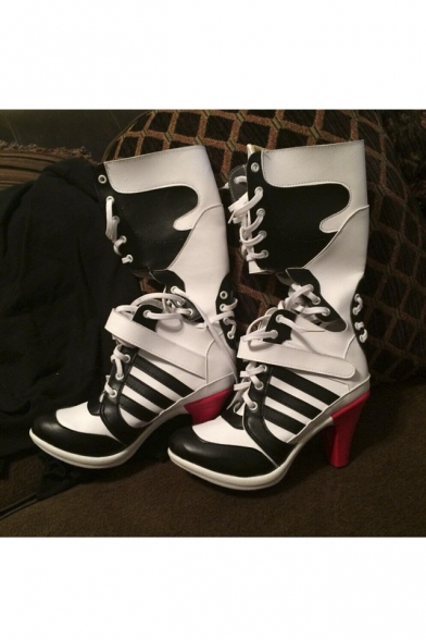 e53d31cab609b3 Suicide Squad Harley Quinn Movie Halloween Cosplay Costumes Shoes Boots