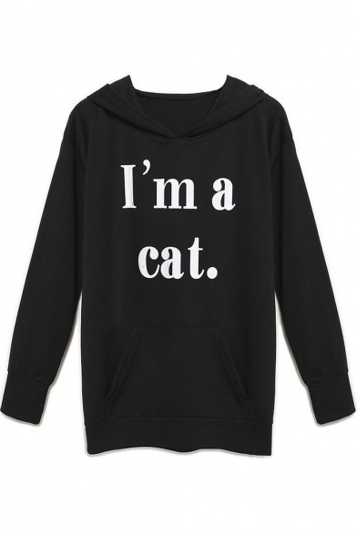 Women's Print Pockets Neck Hoodie Letter Ear with Cat Black Hooded wfgBIxnqfr