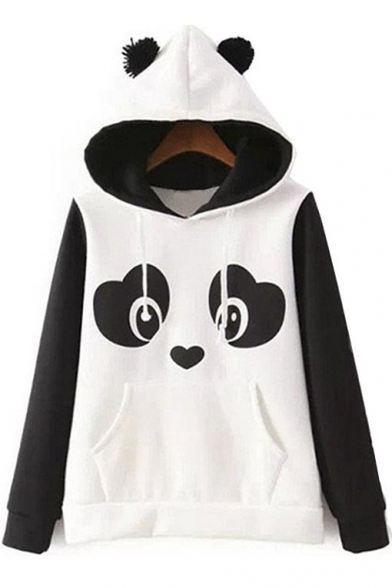 Cute Tops Hoodie White Fleece Print and Black Panda Women's fqxd6wBf