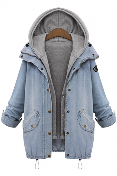 2016 Plus Size Ladies 2 in 1 Denim Coat Fashion Hooded Loose ...