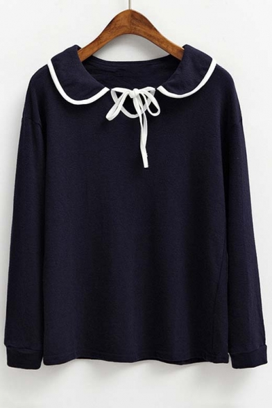 New Arrival Contrast Trim Self-tie Neck Long Sleeve Blouse Top