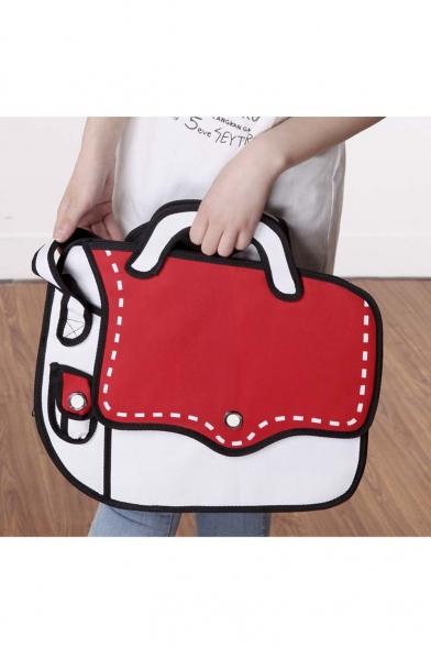 New Fashion Cartoon Color Block Canvas Shoulder Bag Tote Bag