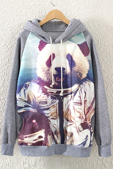 Women's Panda Print Grey Long Sleeve Fleece Sweatshirt Pullover Hoodie