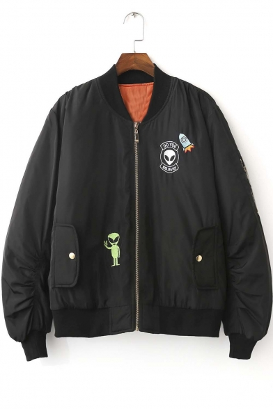 New Arrival Fashion Alien Embroidered Baseball Jacket