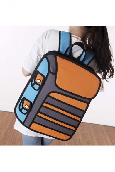 2016 New Fashion Cartoon Color Block Backpack Laptop Bag/School Bag/Travel Bag