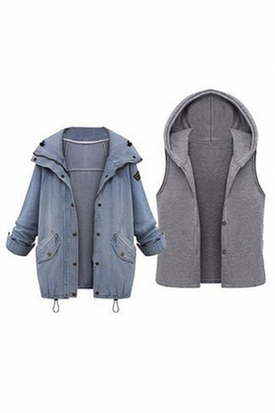 Plus Size Ladies 2 in 1 Denim Coat Fashion Hooded Loose Jacket Oversize Casual Denim Outerwear