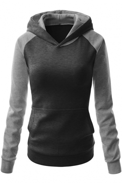 Women's Cotton Patchwork Contrast Color Warm Sports Hooded ...