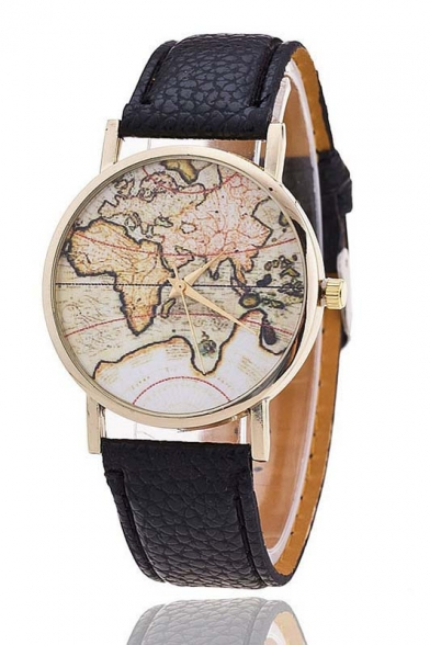Women's Fashion Map Printed Dial Leather Band Quartz Watch