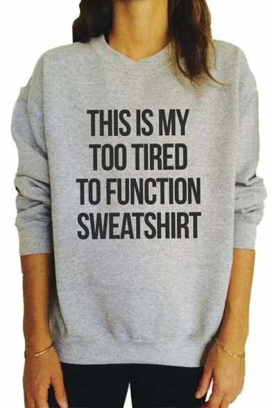 Women's Letter Print Long Sleeve Sweatshirt Loose Pullover Blouse Tops Shirt