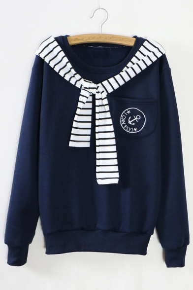 Popular Striped Tie-neck I CAN FLY Letter Print Fleece Sweatshirt