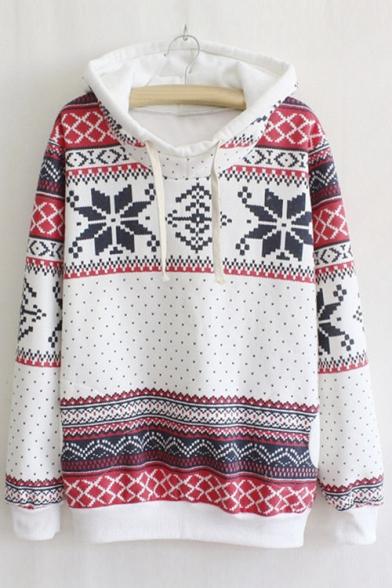 Women Hooded Christmas Jumper Top Snowflake Sweatshirt Sportswear Pullover