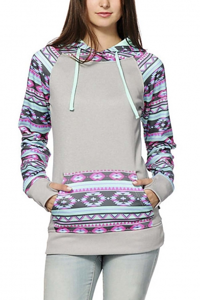 Women's Fall Winter Long Sleeve Floral Print Pullover Hoodie Sweatshirt