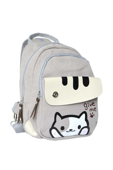 New Arrival Fashion Cute Cat Print Canvas Backpack