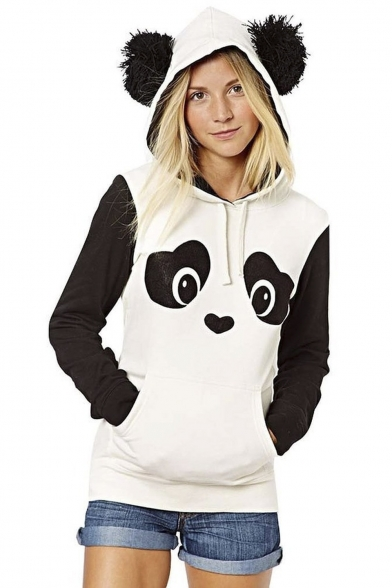 Women's Cute Panda Print White and Black Fleece Hoodie Tops