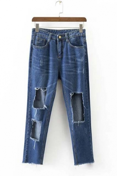 New Arrival Fashion Cut Distressed Crop Jeans