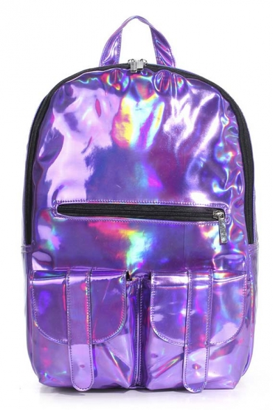 2016 New Fashion Holographic Backpack Purple/Gold/Silver