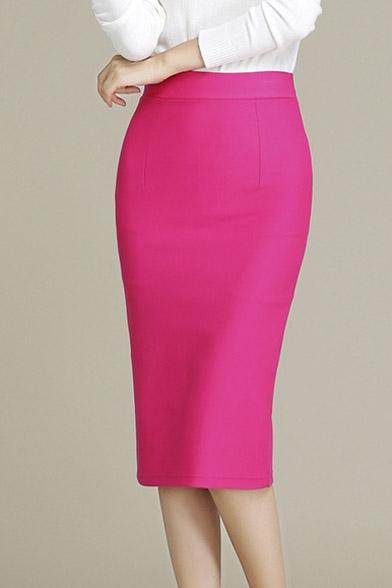 New Arrival Fashion Elegant High Waist Pencil Midi Skirt