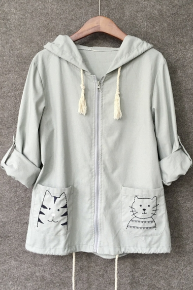 ad3e794f0 Cute Embroidered Cat Pocket Zip Front Drawstring Hooded Coat ...