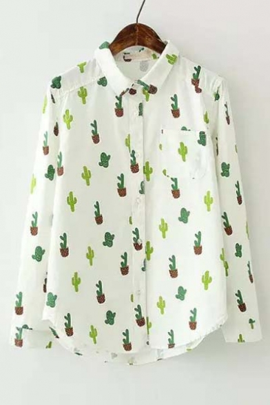 ad7436a788c6 New Arrival Cute Cactus Print Long Sleeve Lapel Shirt - Beautifulhalo.com