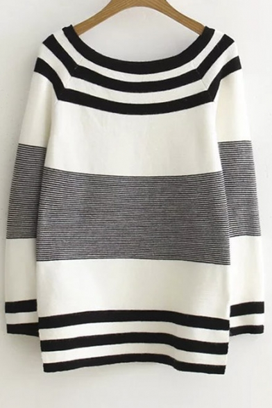2016 New Color Block Striped Split Long Sleeve Round Neck Sweater