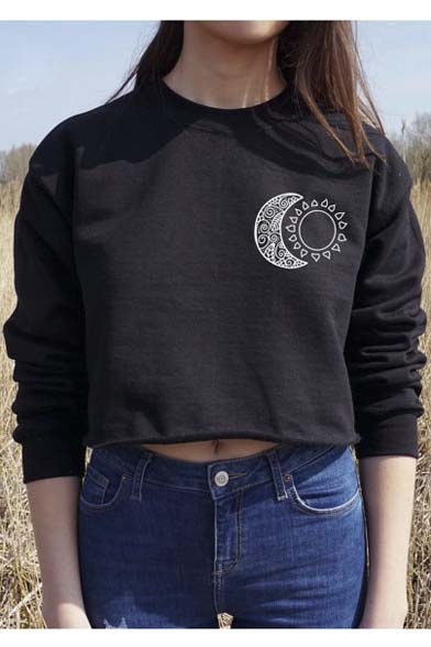 2016 New Fashion Moon Print Round Neck Long Sleeve Cropped Sweatshirt