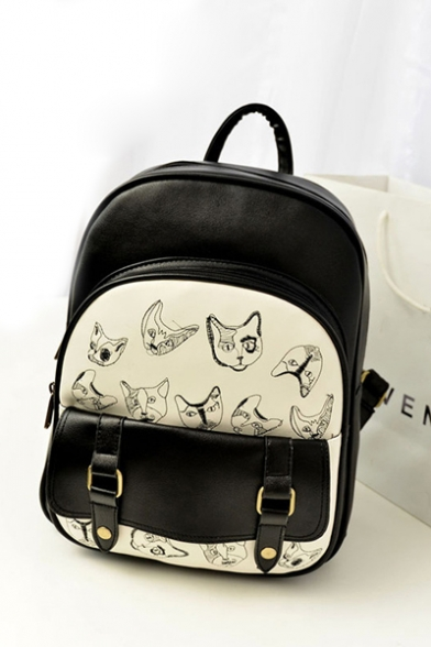 Fashion Color Block Cat Pattern PU Backpack School Bag Travel Bag