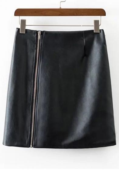 Fashion High Waist Bodycon Mini PU Skirt with Zipper