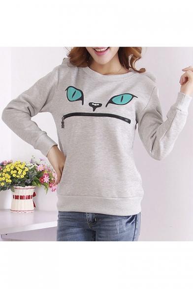 Women Top 3D Jumper Cat Smile Sweatshirt Zip Mouth Ear Shoulder Sw4pSRrq
