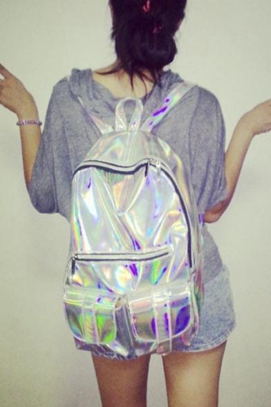 2016 New Unisex Fashion Cool Silver School Bag/Travel Bag