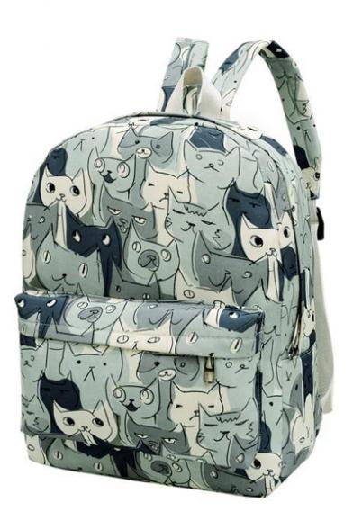 cd2de73c7c8e Fashionable Cute Cat Print Canvas Backpack School Bag Travel Bag -  Beautifulhalo.com