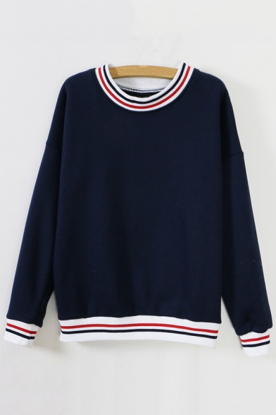 Fashionable Striped Trim Long Sleeve Round Neck Fleece Sweatshirt