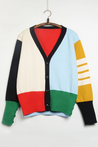 Fashion Color Block V-neck Long Sleeve Cardigan