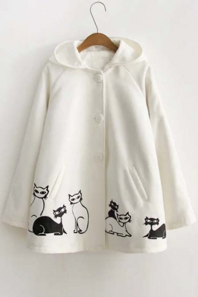 New Arrival Cute Cat Print Long Sleeve Hoodie Fall Winter Coat