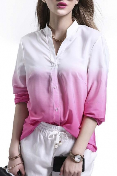 Blouse Sleeve Plunge Placket Stylish Neck Long Single New Breasted OqRzZax