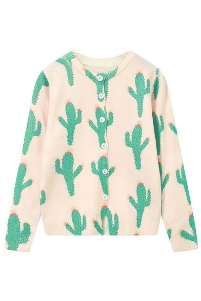 2016 New Fashion Cactus Pattern Single Breasted Cardigan