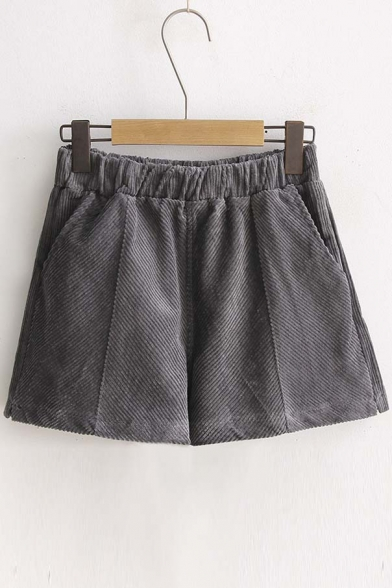 Fall Winter Solid Elastic Waist Corduroy Shorts with Pockets