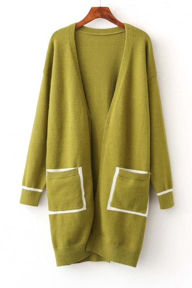 Fashion Long Sleeve Color Block Pockets Split Back Maxi Cardigan