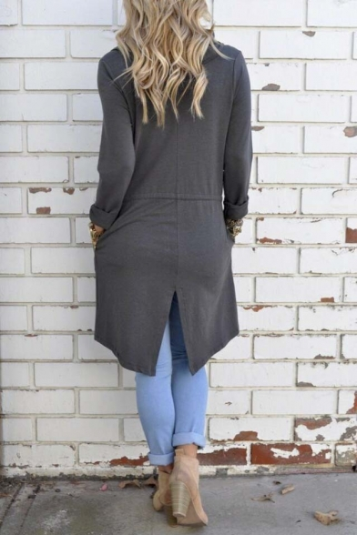 Fashion Slim Waterfall Front Long Sleeve Irregular Split Panel Coat