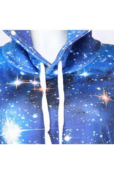 Stylish Galaxy Digital Print Long Sleeve Midi Sweatshirt Dress