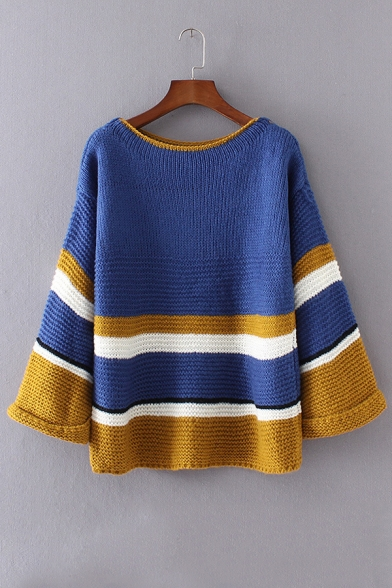 2016 Fall Loose Color Block Striped Long Sleeve Round Neck Knitted Sweater