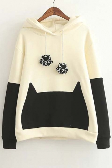 Trendy Color Block Cute Cat Ears Hooded Sweatshirt with Bow Back