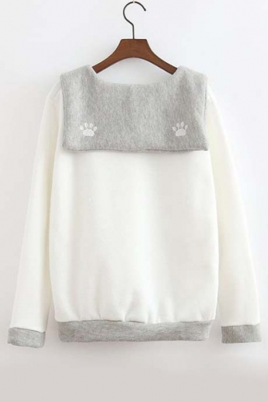 Fall Winter New Color Block Long Sleeve Sweatshirt White/Gray