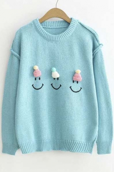 Cute Embroidery Cartoon Pattern Drop Long Sleeve Round Neck Sweater