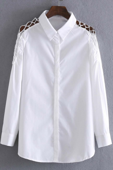 Cutout Long Sleeve Lapel Single Breasted Button Down Shirt
