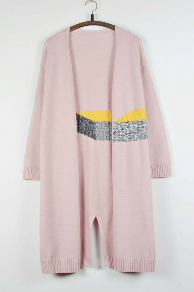 New Arrival Fashion Color Block Slit Back Longline Cardigan