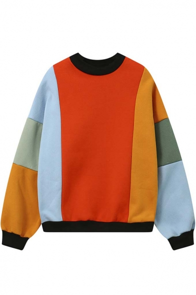 Oversized  Contrast Trim Color Block Pattern Pullover Sweatshirt