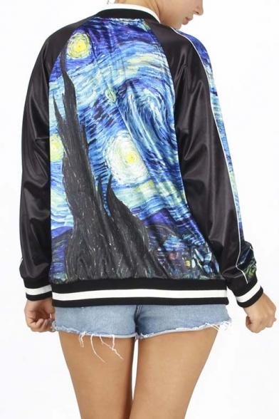 Popular Stylish Oil Print Contrast Trim Baseball Jacket