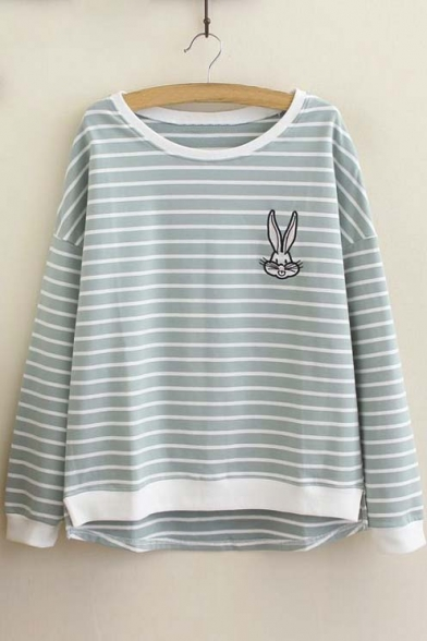 Striped Color Block Trim Embroidery Rabbit Print Round Neck Long Sleeve Pullover Sweatshirt