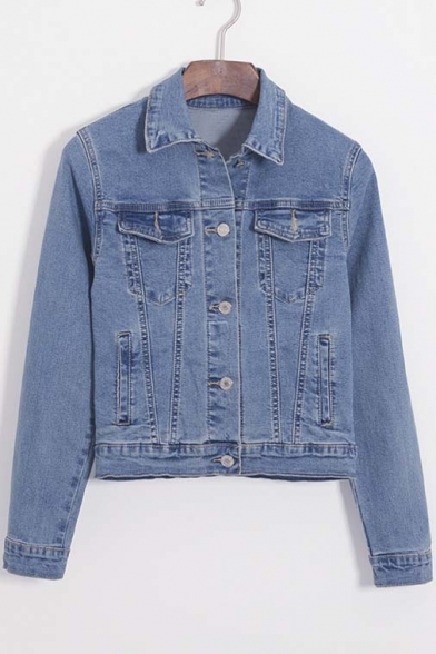 Retro Style Ruffle Back Single-breasted Long Sleeve Lapel Denim Jacket